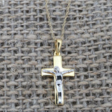Beauniq 14k Yellow and White Gold Crucifix Cross Pendant Necklace, Pendant only