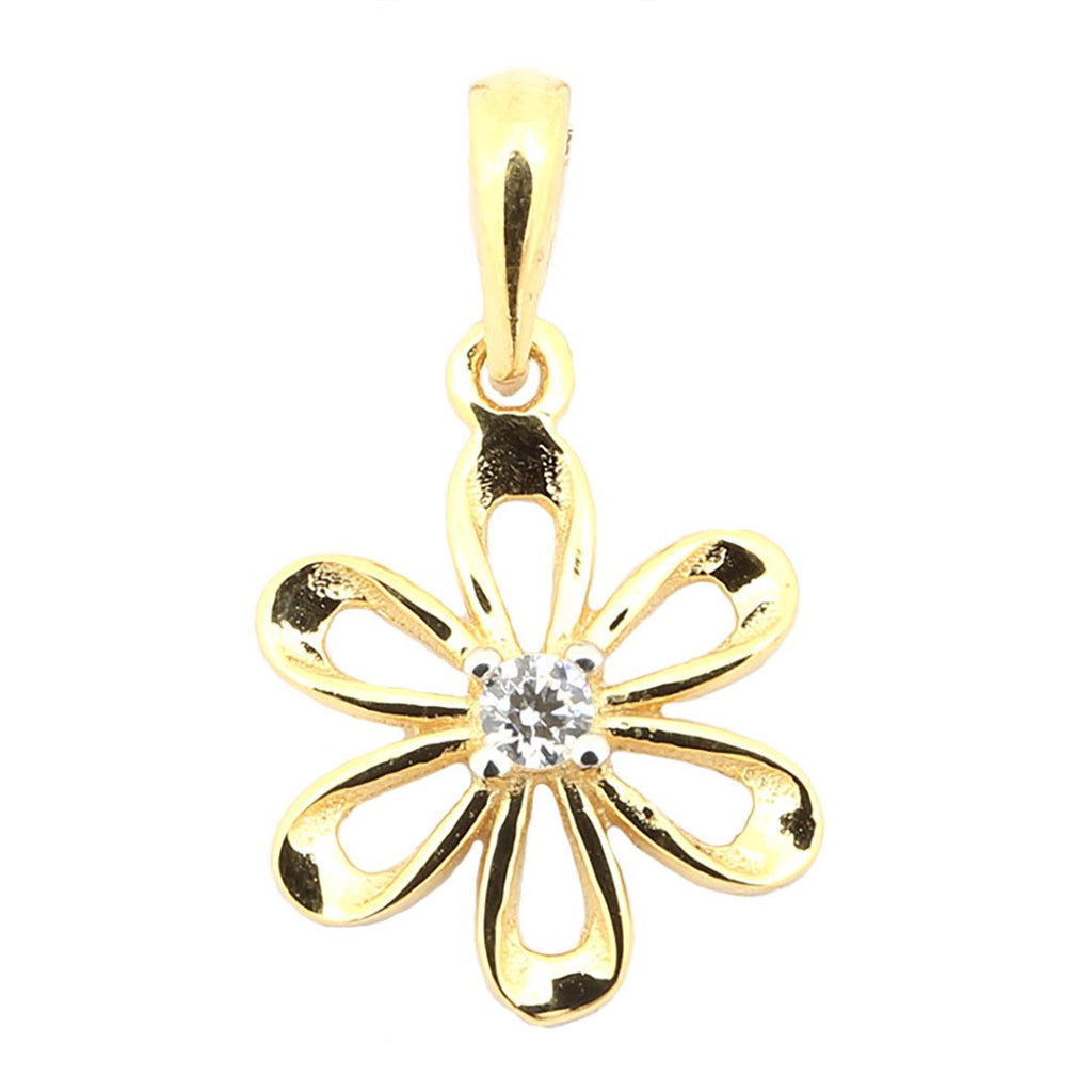 "Beauniq 14k Yellow Gold Cubic Zirconia Small Flower Daisy Pendant Necklace, 13"" 15"" 16"" 18"" 20"" or 22"""