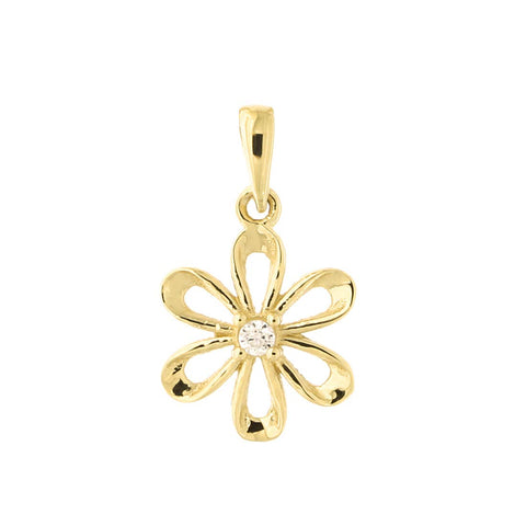 14k Yellow Gold Cubic Zirconia Flower Pendant Necklace with Cable Chain