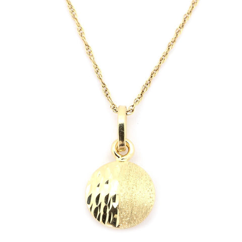 14k Yellow Gold Matte Finish and Diamond Cut Split Disc Pendant Necklace, pendant only