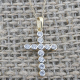 14k Yellow Gold Round Bezel Set Cubic Zirconia Cross Pendant Necklace, Pendant only