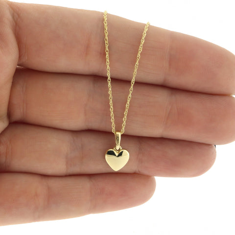 Beauniq 14k Yellow Gold Small Puffed Heart Pendant Necklace, Pendant only