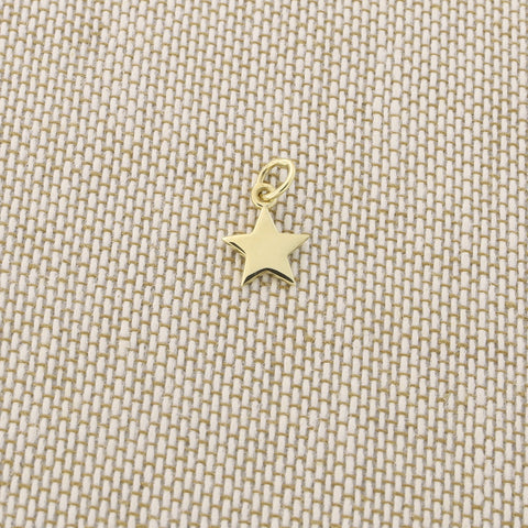 14k Yellow Gold Tiny Star Pendant Necklace, pendant only