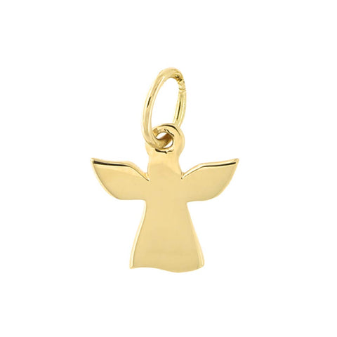 14k Yellow Gold Tiny Angel Pendant Necklace with Cable Chain