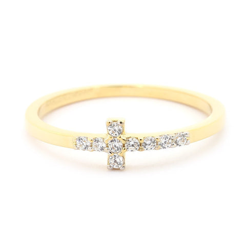 Beauniq 14k Yellow Gold Cubic Zirconia Sideways Cross Ring - Size 5