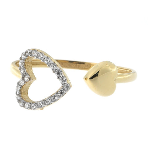Beauniq 14k Yellow Gold Cubic Zirconia Hearts Ring, Size 5