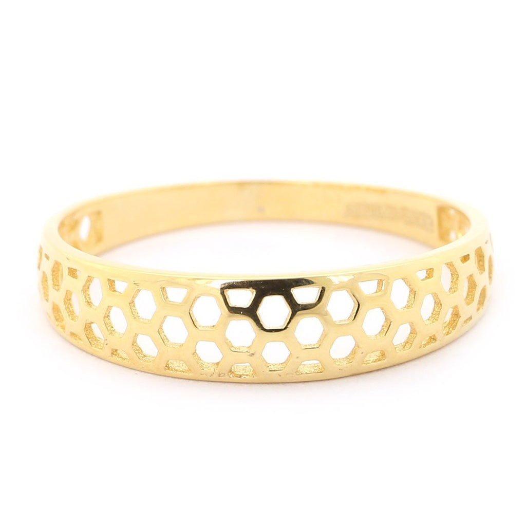 14k Yellow Gold Open Hexagon Honeycomb Texture Band Ring - Size 5