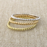 14k Rose Gold Thin Rope Stacking Ring, size 4.5
