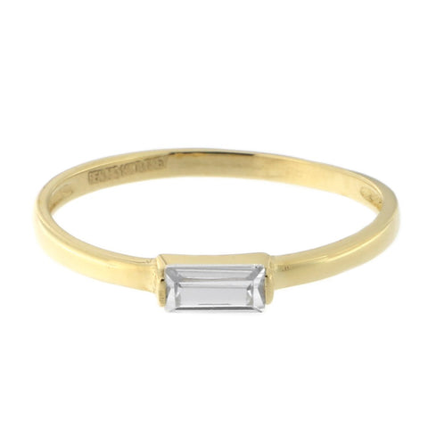 Beauniq 14k Yellow Gold Emerald Cut Cubic Zirconia Solitaire Ring, Size 5