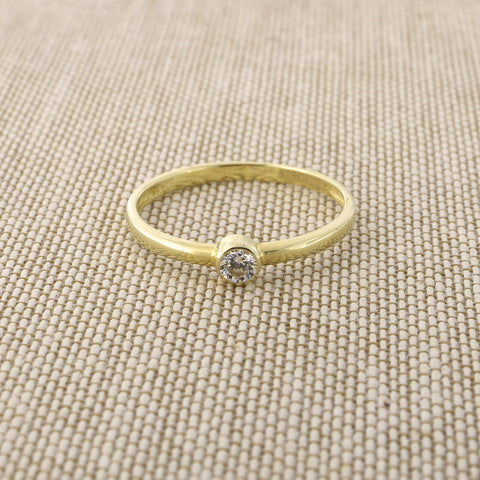 14k Yellow Gold Bezel Set Cubic Zirconia Solitaire Ring, Size 5