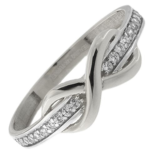 Beauniq 14k White Gold Cubic Zirconia Band Infinity Ring