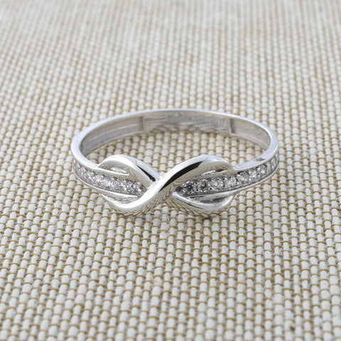 Beauniq 14k White Gold Cubic Zirconia Band Infinity Ring, Size 5