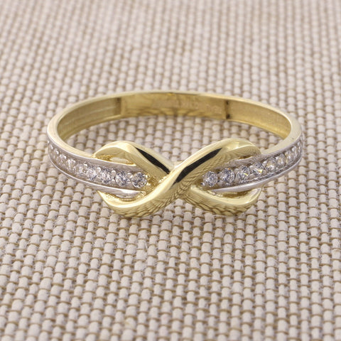 Beauniq 14k Yellow Gold Cubic Zirconia Band Infinity Ring, Size 5
