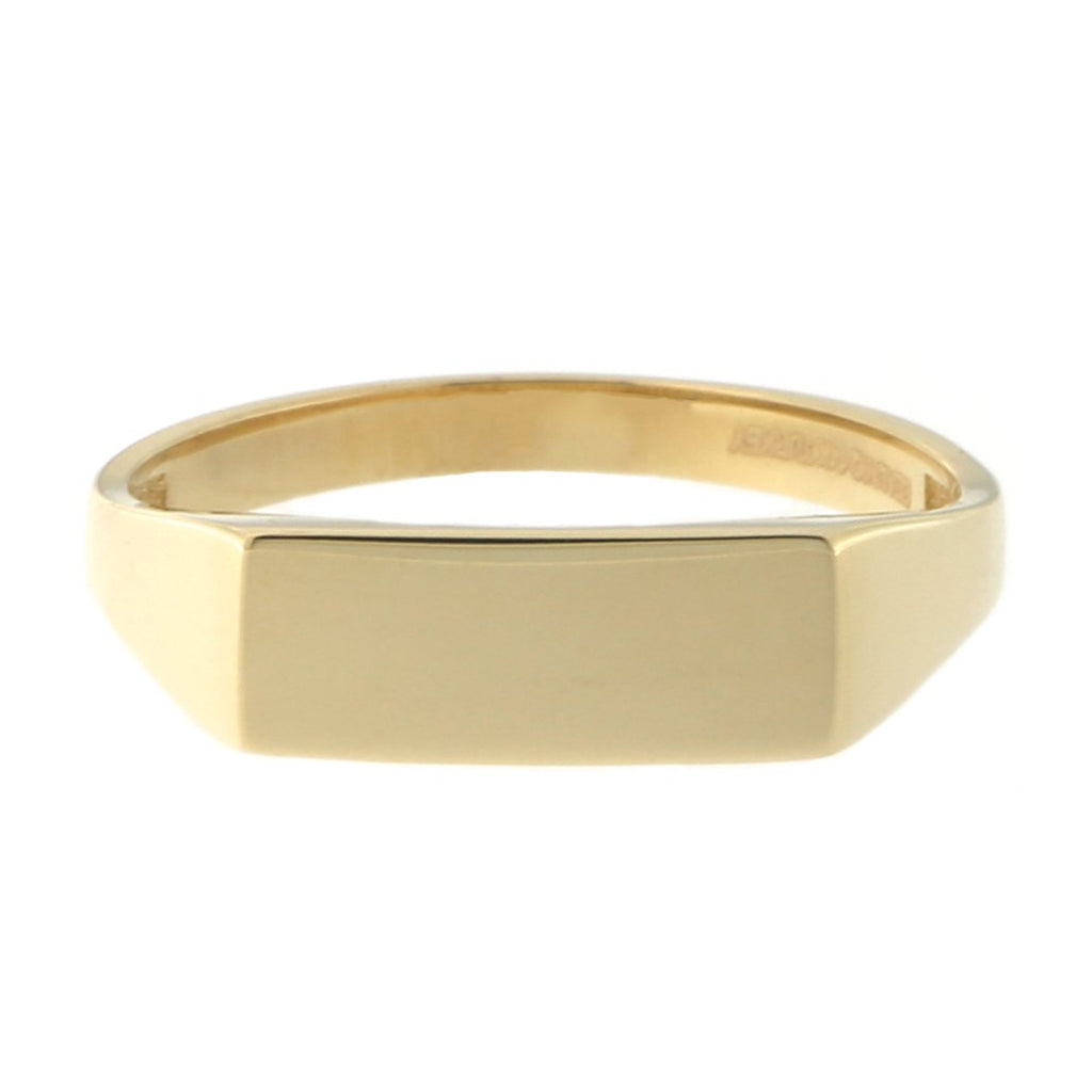 Beauniq 14k Yellow Gold Flat Top Signet Ring