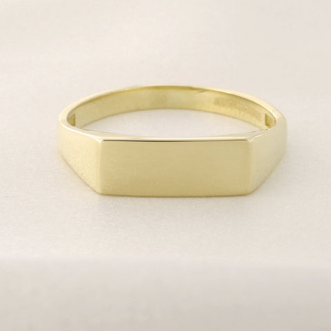 Beauniq 14k Yellow Gold Flat Top Signet Ring, Size 5