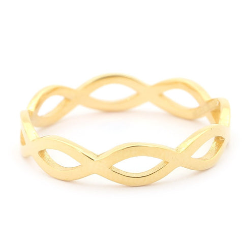 14k Yellow Gold Infinity Eternity Band Ring - Size 6