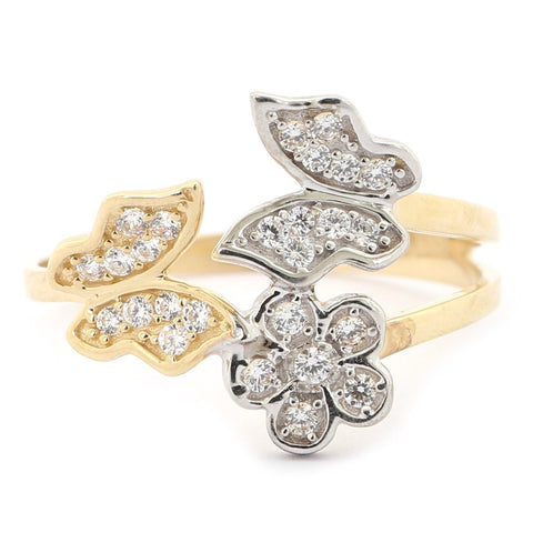 Beauniq 14k Yellow and White Gold Cubic Zirconia Butterflies and Flower Ring - Size 5