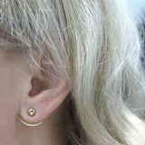 14k Yellow Gold Stud Earrings with Curved Jackets