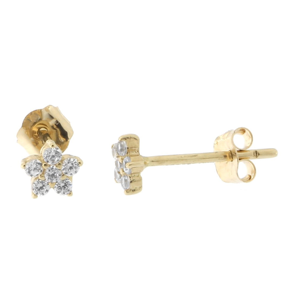 14k Yellow Gold Cubic Zirconia Tiny Flower Stud Earrings