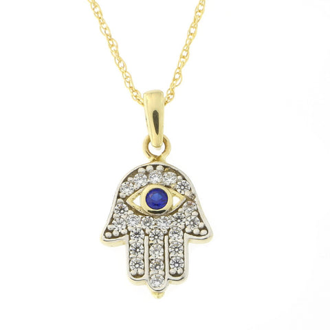 Beauniq 14k Yellow Gold Simulated Sapphire and Cubic Zirconia Tiny Hamsa Pendant Necklace, Pendant only