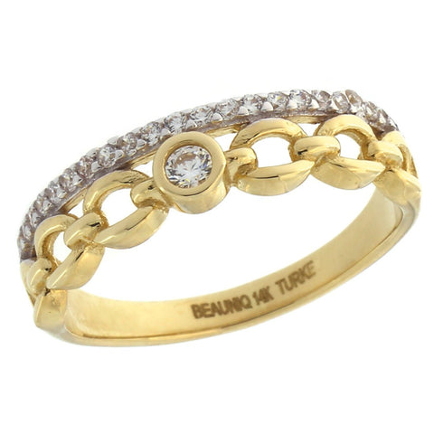 14k Yellow Gold Cubic Zirconia Chain Stacking Ring, size 5