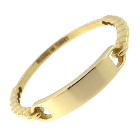 Beauniq 14k Yellow Gold Dotted Band Bar Ring, Size 5