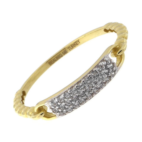 Beauniq 14k Yellow Gold Cubic Zirconia Dotted Band Bar Ring, Size 5
