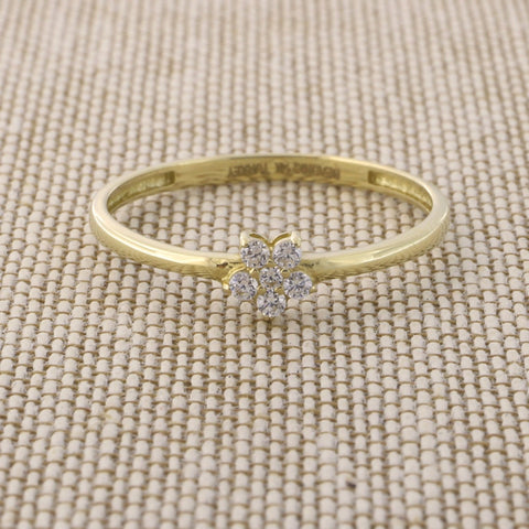 Beauniq 14k Yellow Gold Cubic Zirconia Tiny Flower Ring, Size 5
