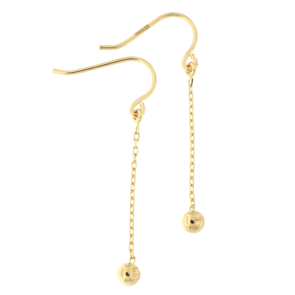 14k Yellow Gold Ball on Chain Dangle Earrings
