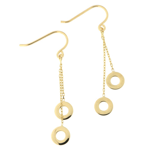 14k Yellow Gold Open Circle Dangle Earrings