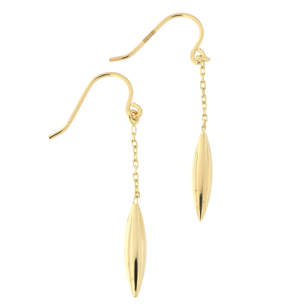 14k Yellow Gold Pointed Dangle Earrings