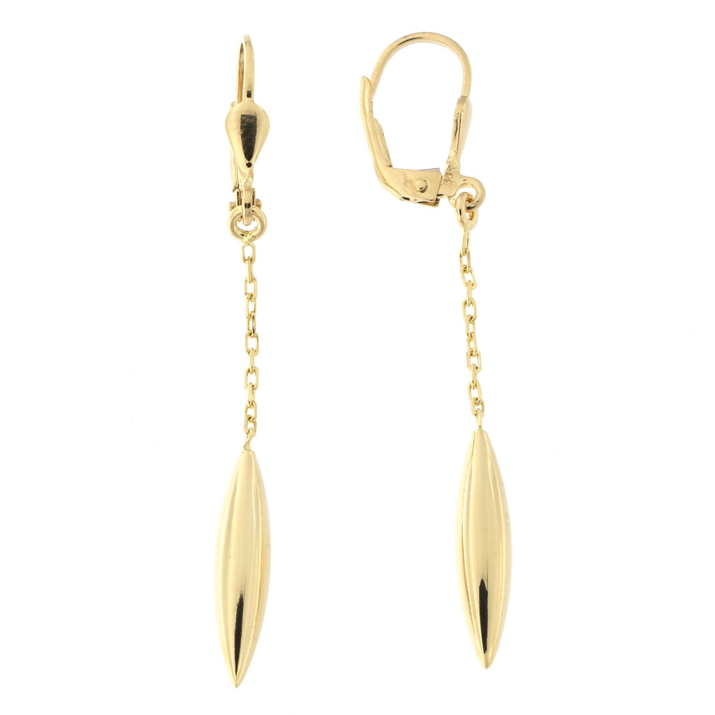 14k Yellow Gold Pointed Leverback Dangle Earrings