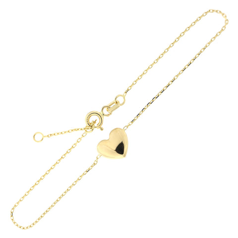 "14k Yellow Gold Puffed Heart Chain Bracelet, 6.5""-7.5"""