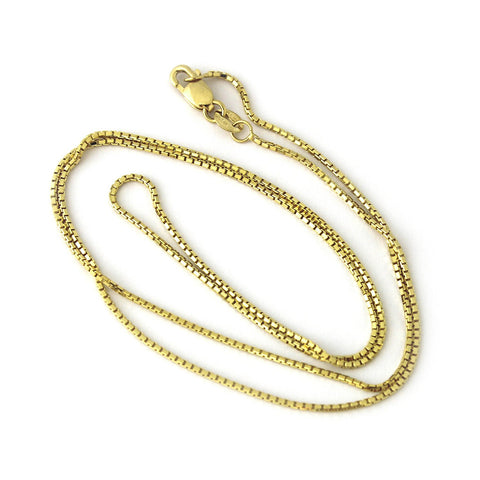 14k Yellow Gold Octagonal Box Chain Necklace, 16""