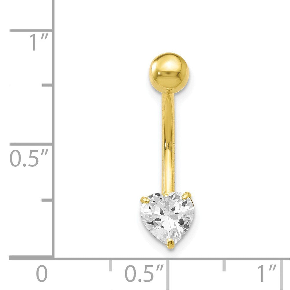 10k Yellow Or White Gold 6mm Cubic Zirconia Heart Belly Button Ring