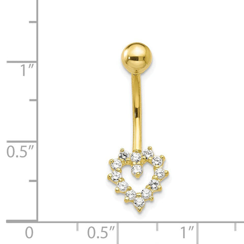 10k Yellow Gold Cubic Zirconia Open Heart Belly Button Navel Ring