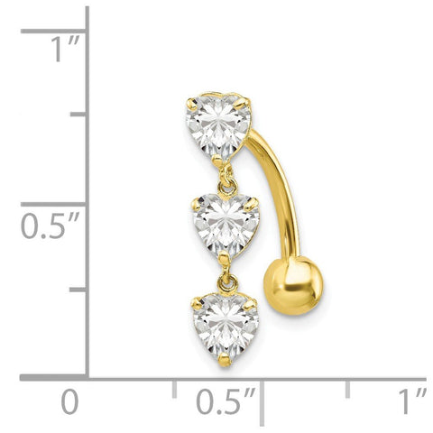 10k Yellow Gold Top Mount Cubic Zirconia Triple Hearts Reverse Dangle Belly Button Ring