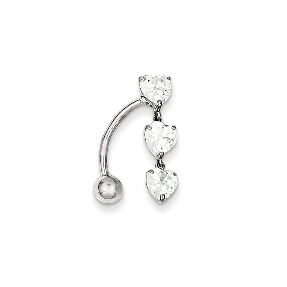 10k Yellow or White Gold Top Mount Cubic Zirconia Triple Hearts Reverse Dangle Belly Button Ring