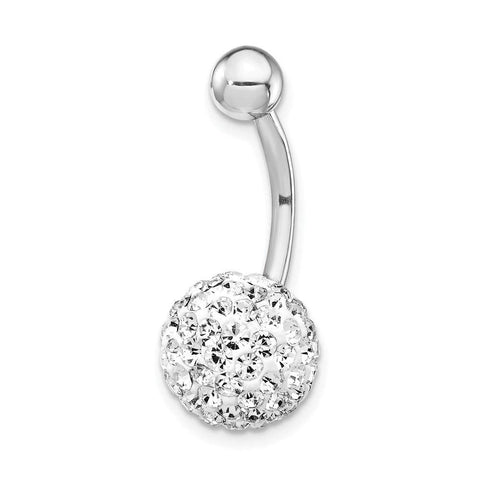 10k White Gold Rhodium Plated 10mm Crystal Ball Belly Button Navel Ring