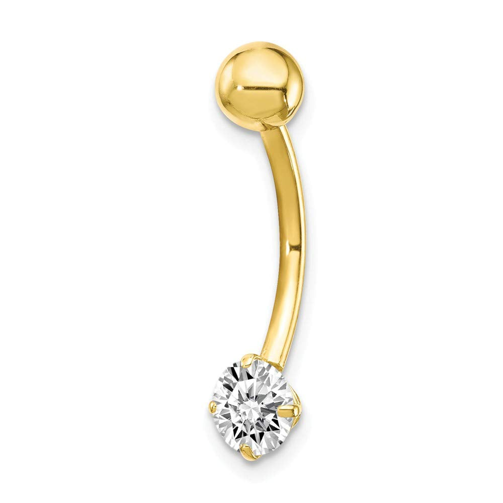 10k Yellow Or White Gold 5mm Cubic Zirconia Belly Button Navel Ring