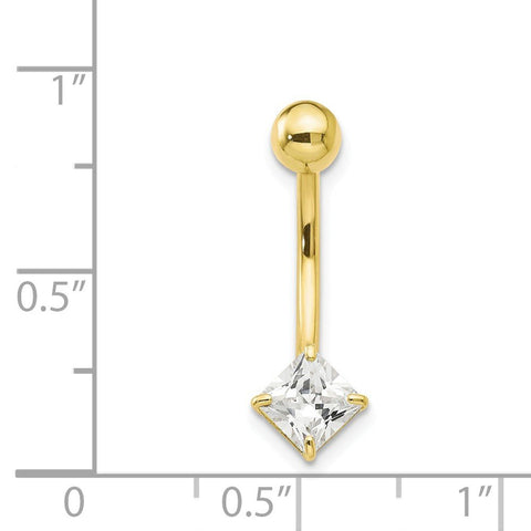 10k Yellow Gold 5mm Square Cubic Zirconia Belly Button Navel Ring