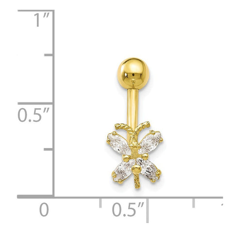 10k Yellow Gold Cubic Zirconia Butterfly Belly Ring Navel Piercing