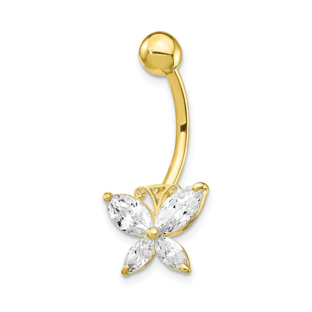 10k Yellow Gold Large Cubic Zirconia Butterfly Belly Button Ring