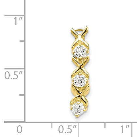 10k Yellow Gold Cubic Zirconia X and O Top Mount Reverse Dangle Belly Ring