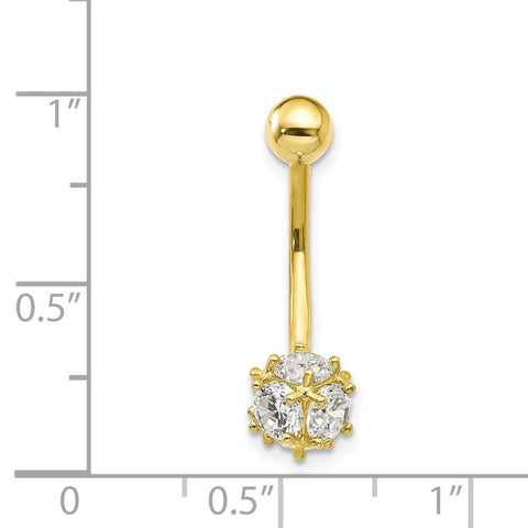 10k Yellow Gold Cubic Zirconia Soccer Ball Belly Button Navel Ring