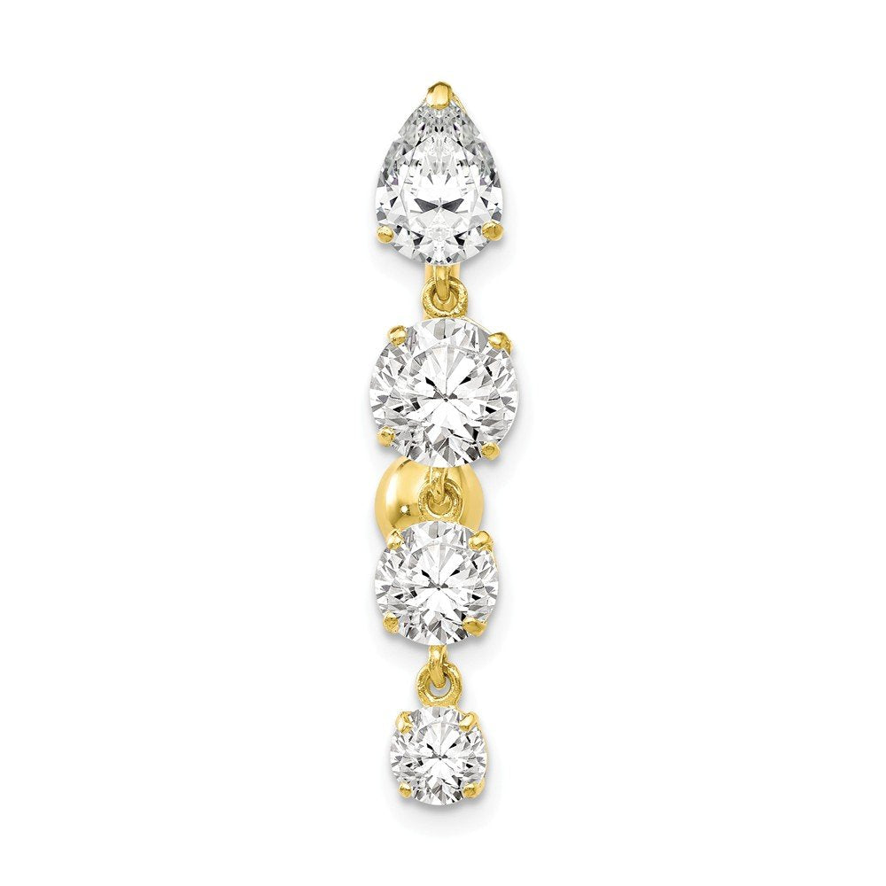 10k Yellow or White Gold Graduated Cubic Zirconia Top Mount Reverse Dangle Belly Ring