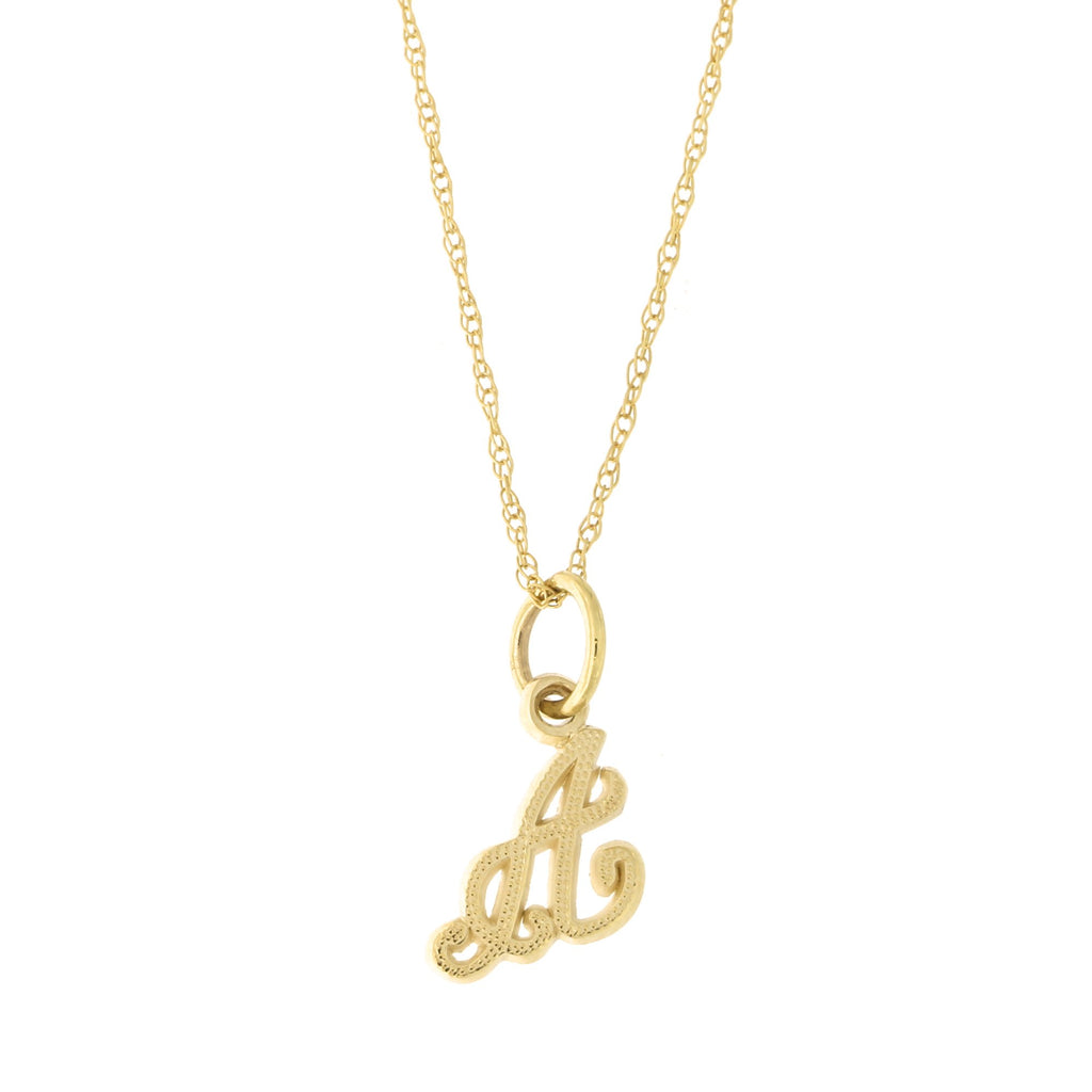 10k Yellow Gold Small Initial Pendant Necklace, F, 16 inches