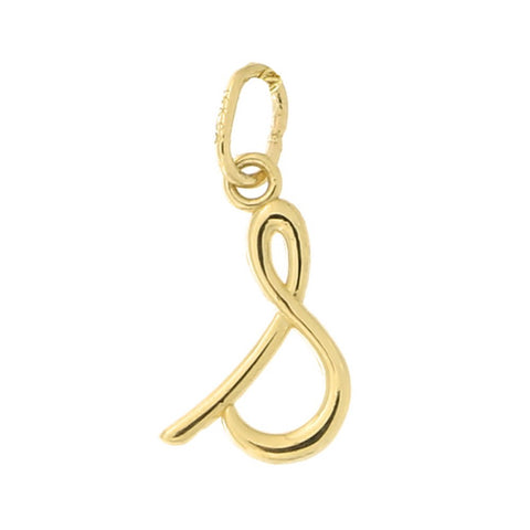 Beauniq 14k Yellow Gold Small Lowercase Cursive Initial Pendant, S, Pendant Only