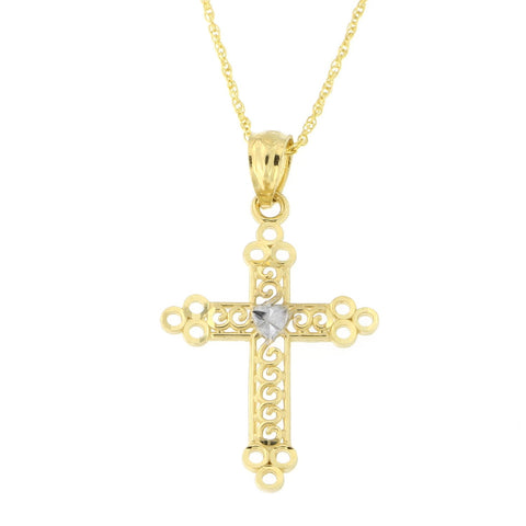 14k Yellow and White Gold Two-Tone Filigree Open Cross Pendant Necklace (pendant only)