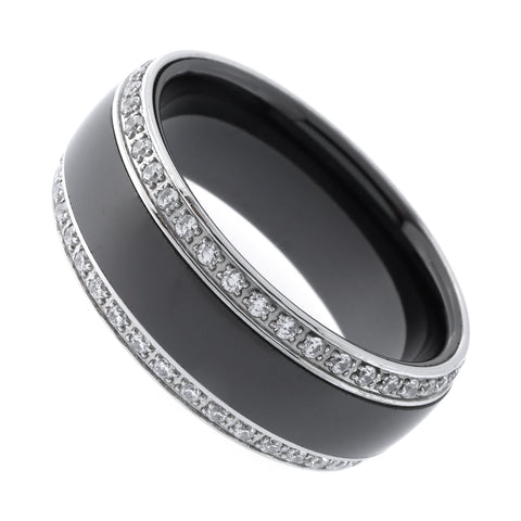 Men's Black and Silver Ceramic Cubic Zirconia 8mm Band Comfort Fit Ring, Size 10